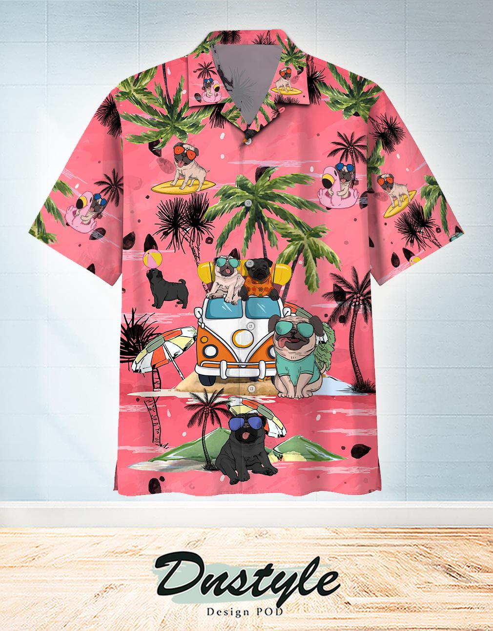 Pug Summer Beach Hawaiian Shirt