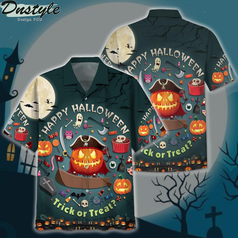 Pumpkin happy halloween trick or treat hawaiian shirt 1