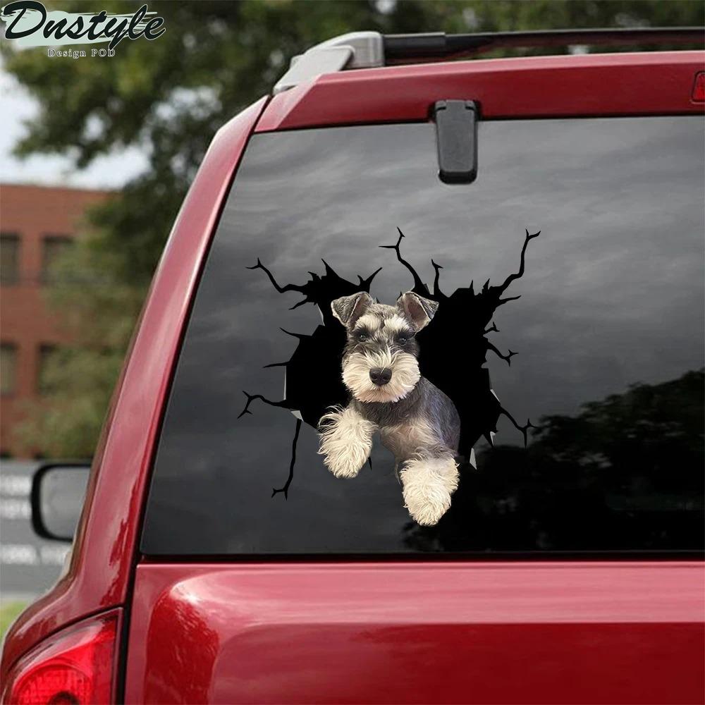 Schnauzer crack car decal sticker