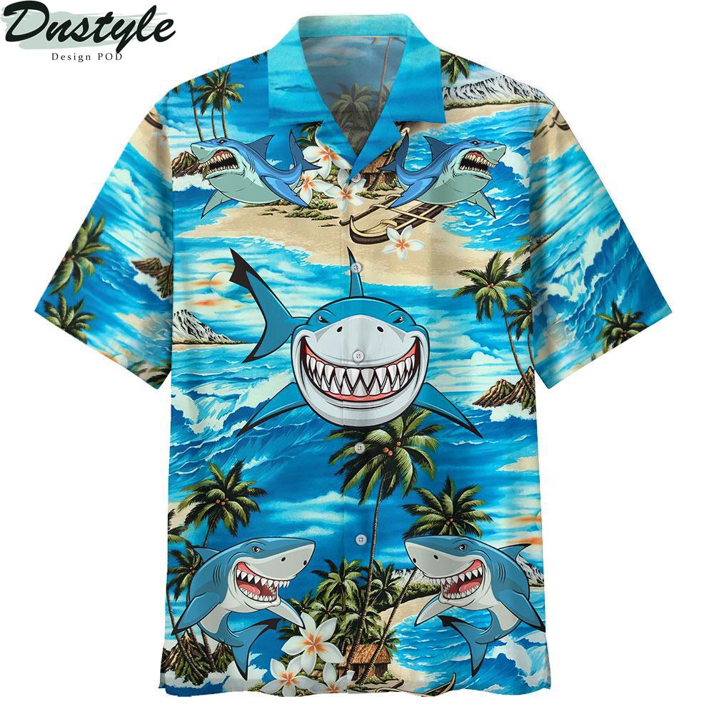 Shark smile hawaiian shirt
