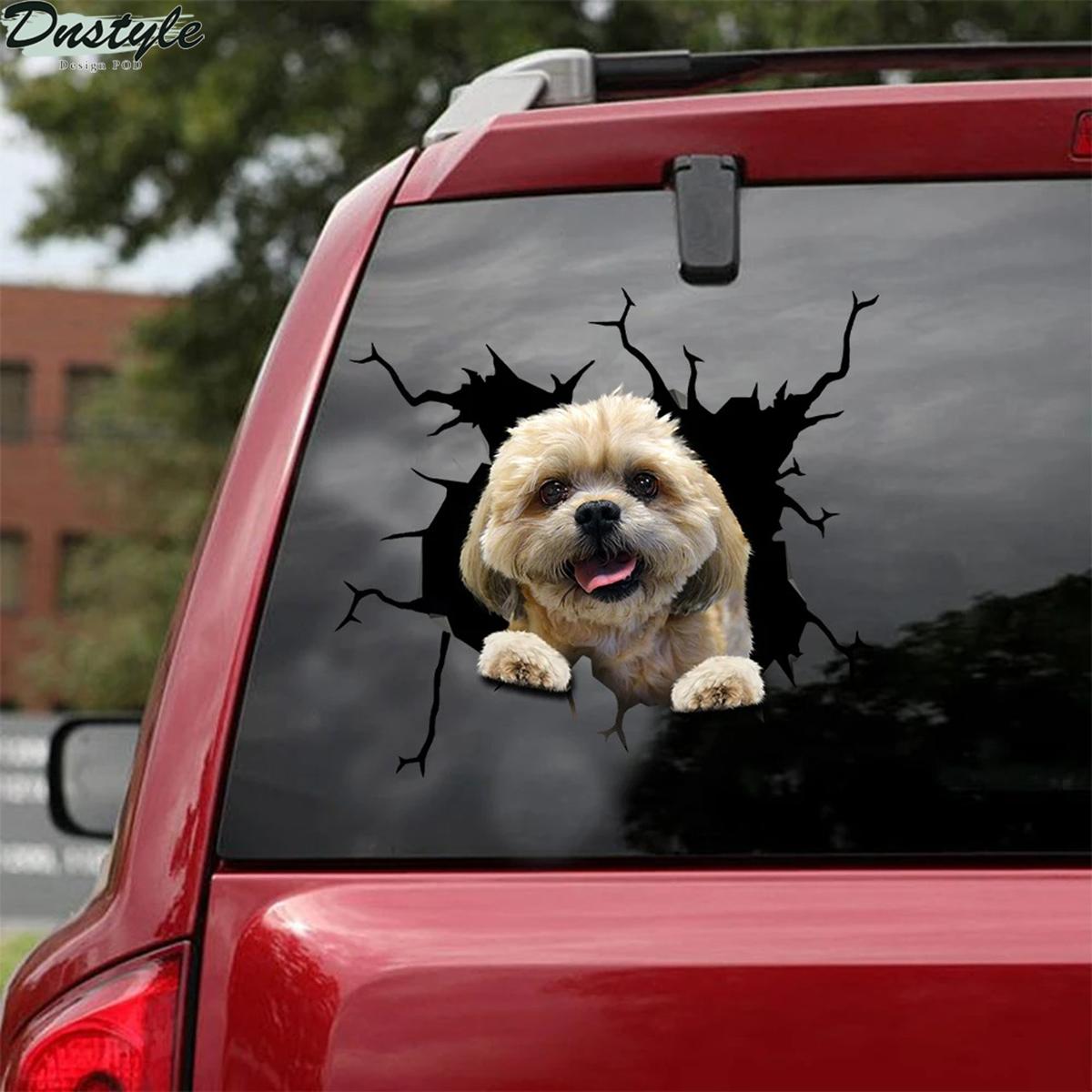 Shih tzu crack car decal sticker 1