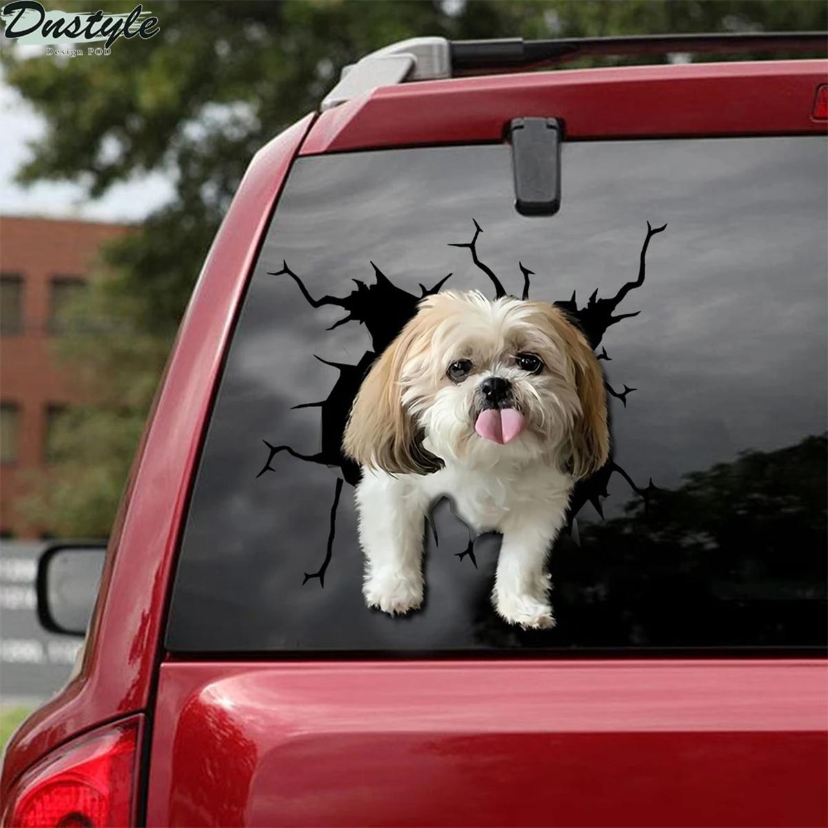 Shih tzu crack car decal sticker dogs lover 1