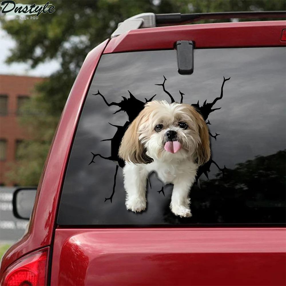 Shih tzu crack car decal sticker dogs lover