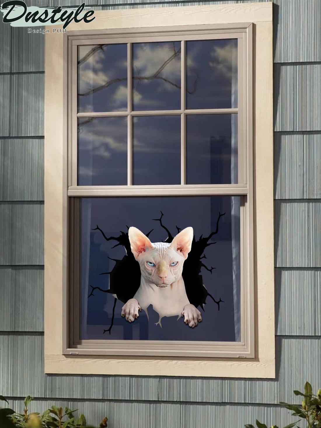 Sphynx cat crack window decal sticker 1