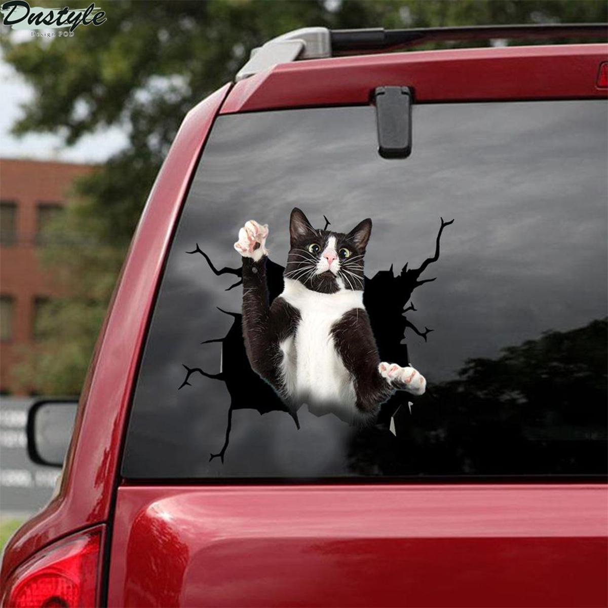 Tuxedo cat crack car sticker cats lover 2