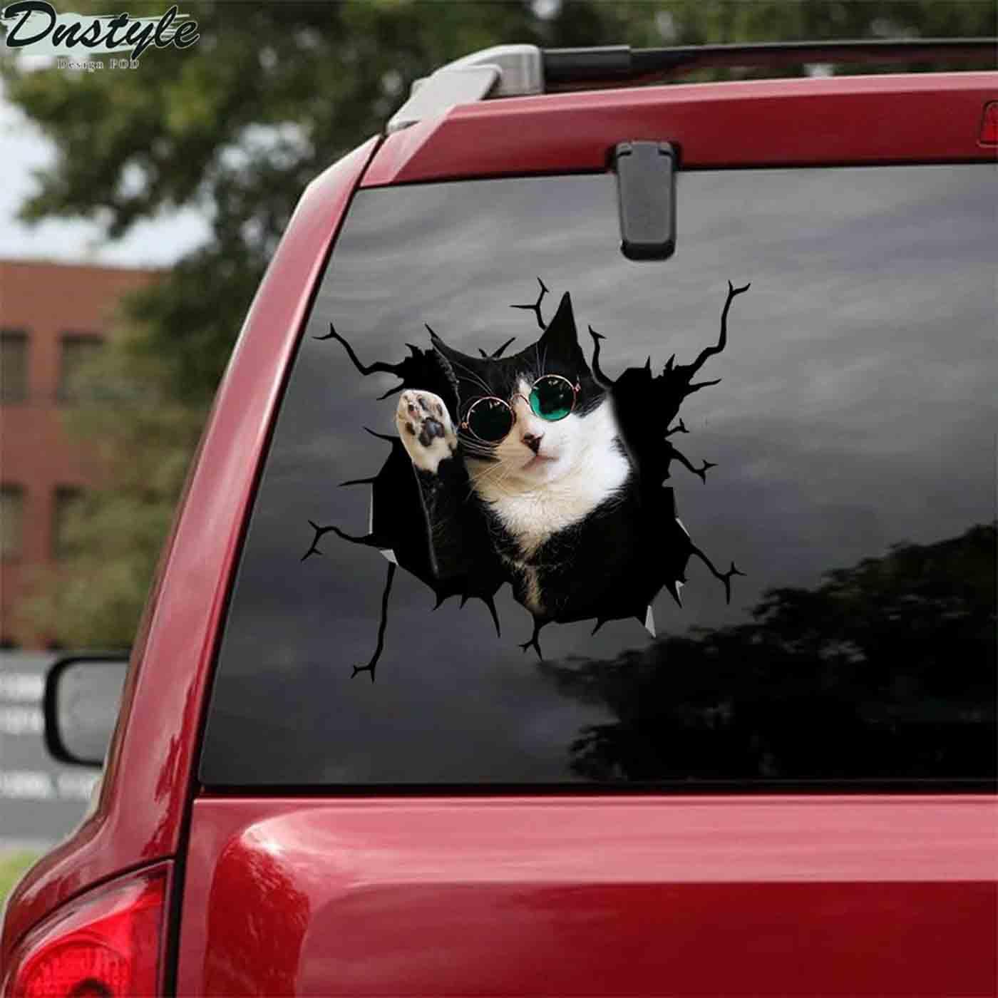 Tuxedo cats glasses car decal sticker 2