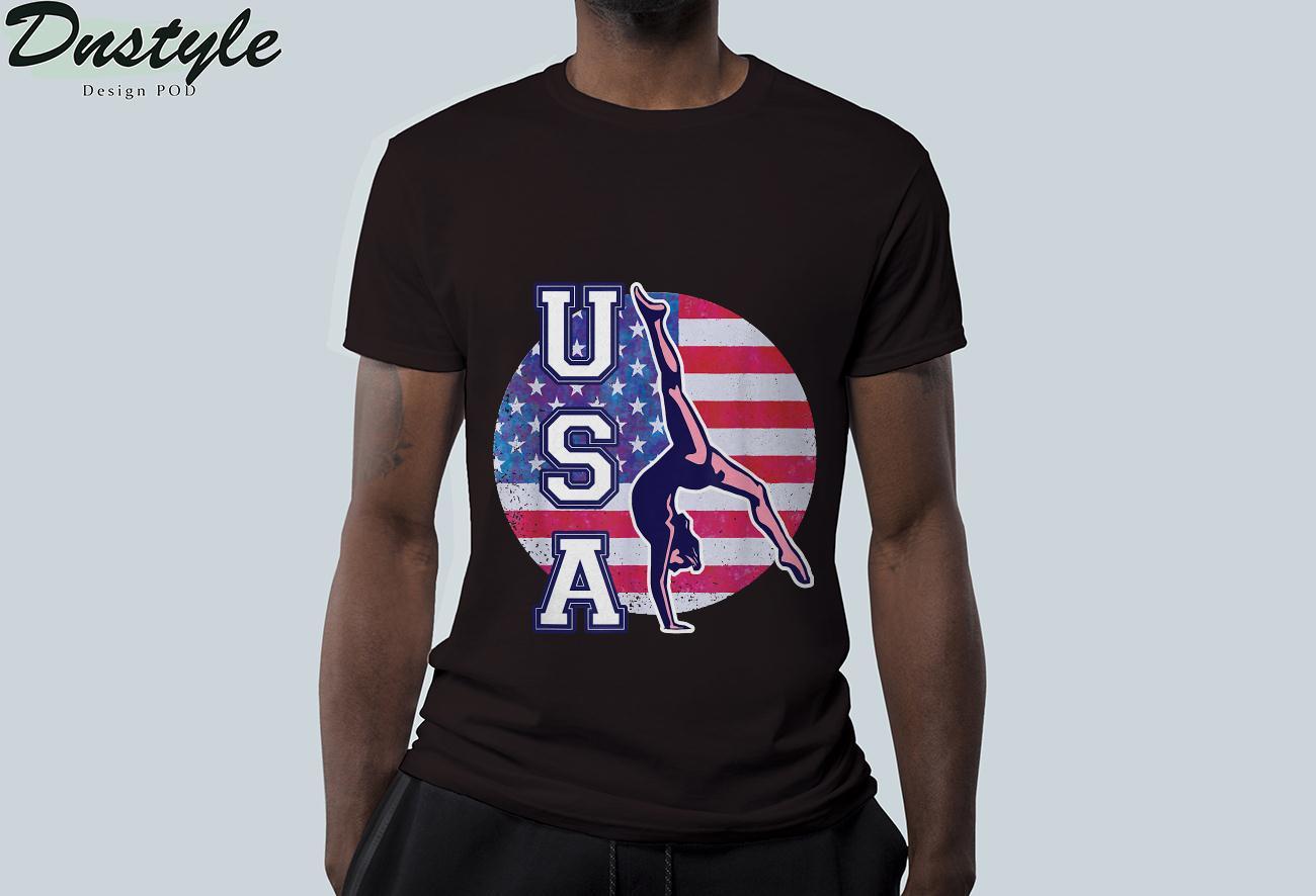 USA Gymnast Womens Gymnastics Team Athlete American Flag T-Shirt 1