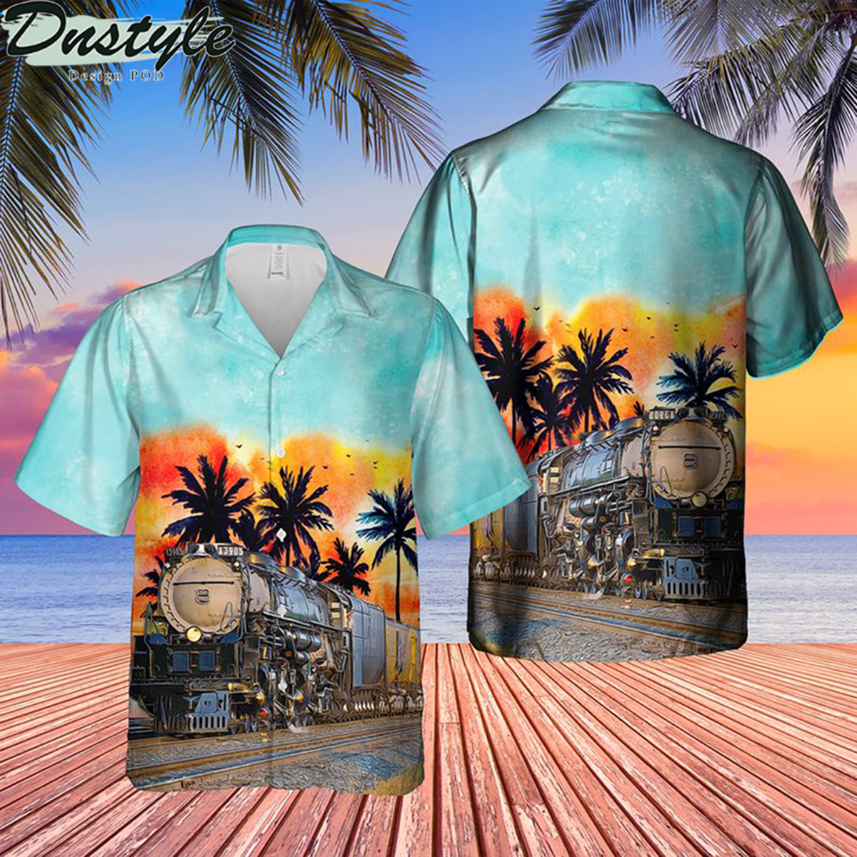 Union pacific challenger no 3985 blue sky hawaiian shirt 2