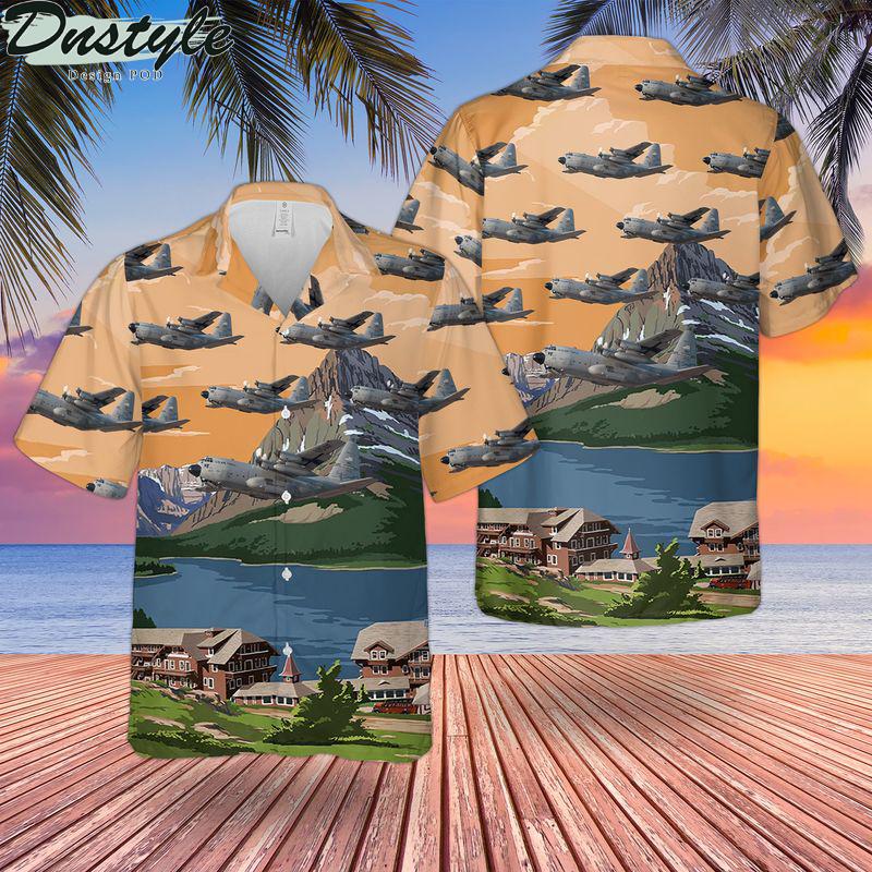 Us air force montana air national guard lockheed c-130h hercules hawaiian shirt