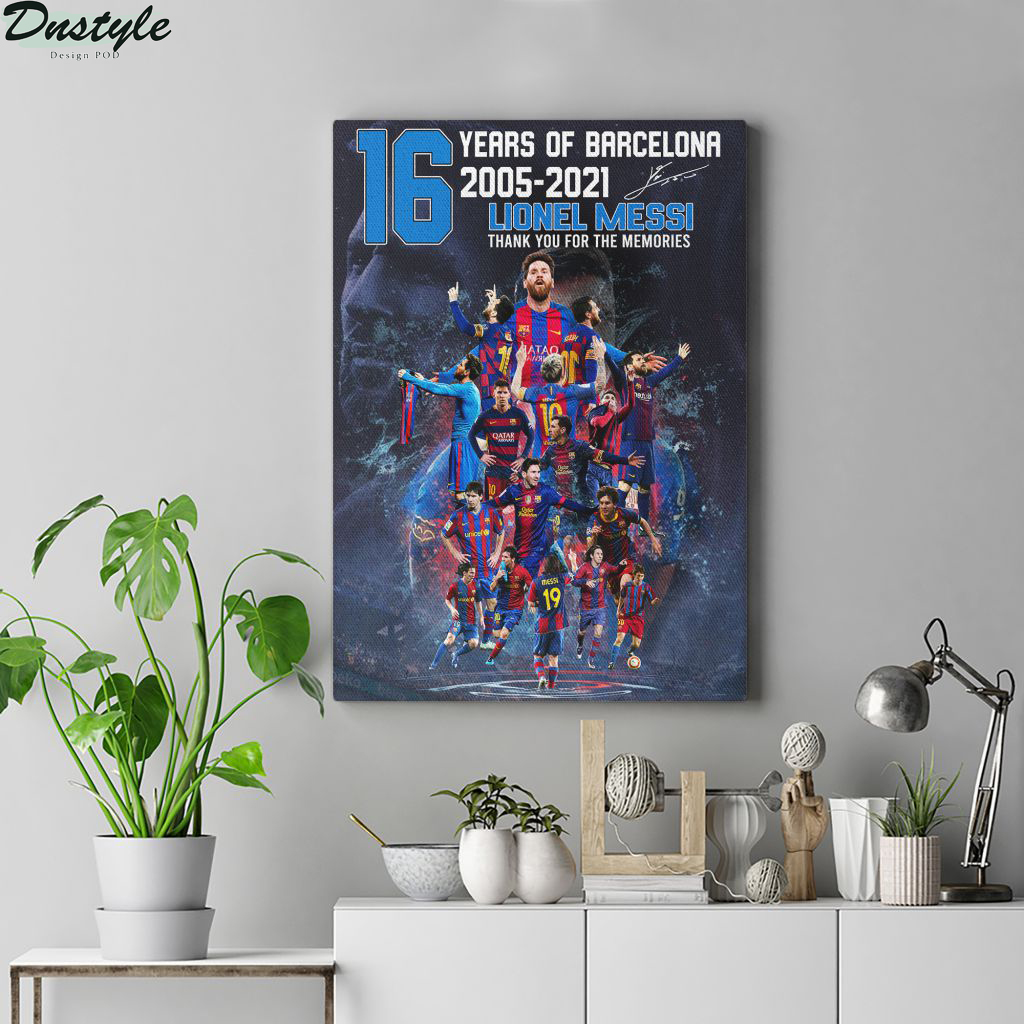 16 years of barcelona Lionel Messi poster