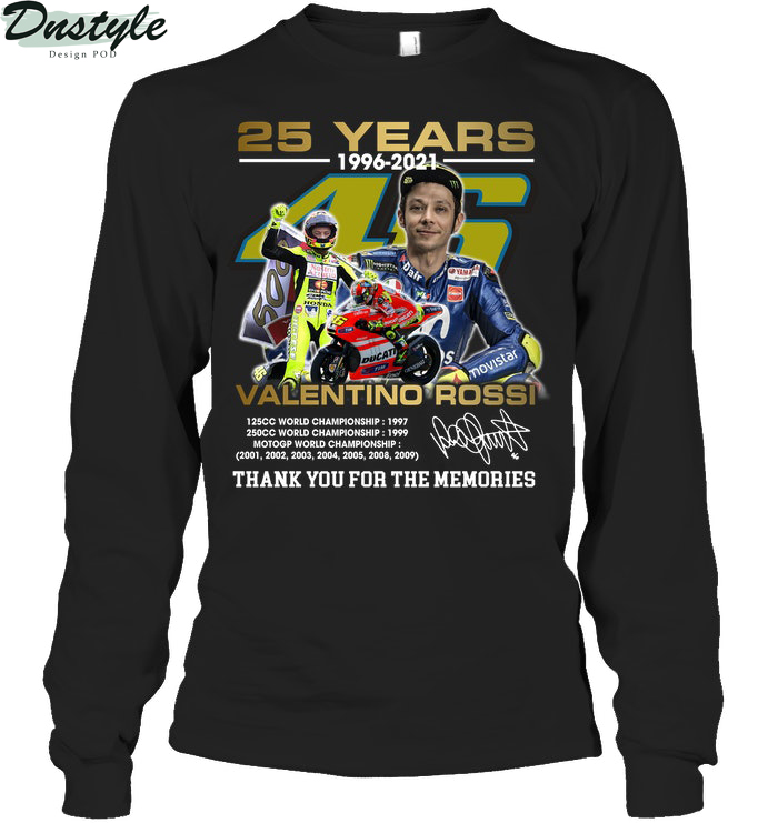 25 years valentino rossi thank you for the memories long sleeve