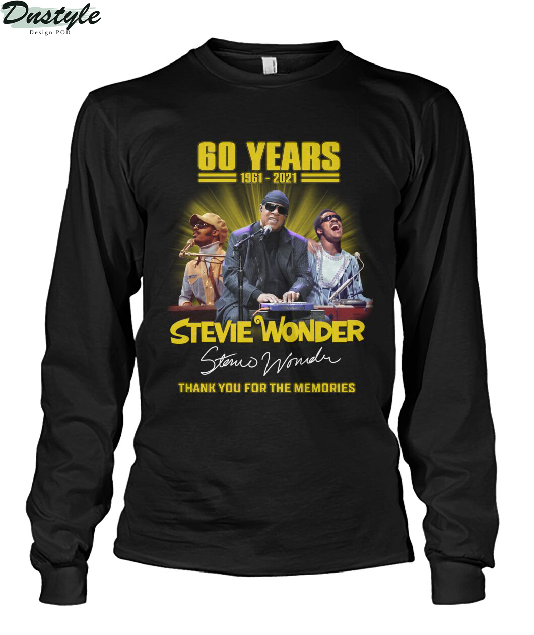60 years Stevie Wonder signature thank you for the memories long sleeve