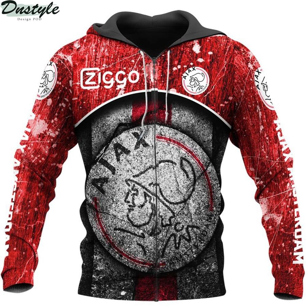 Ajax amsterdam 3d all over printed zip hoodie