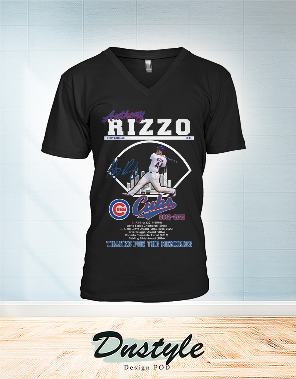 Anthony Rizzo Chicago Cubs thank you for the memories v-neck