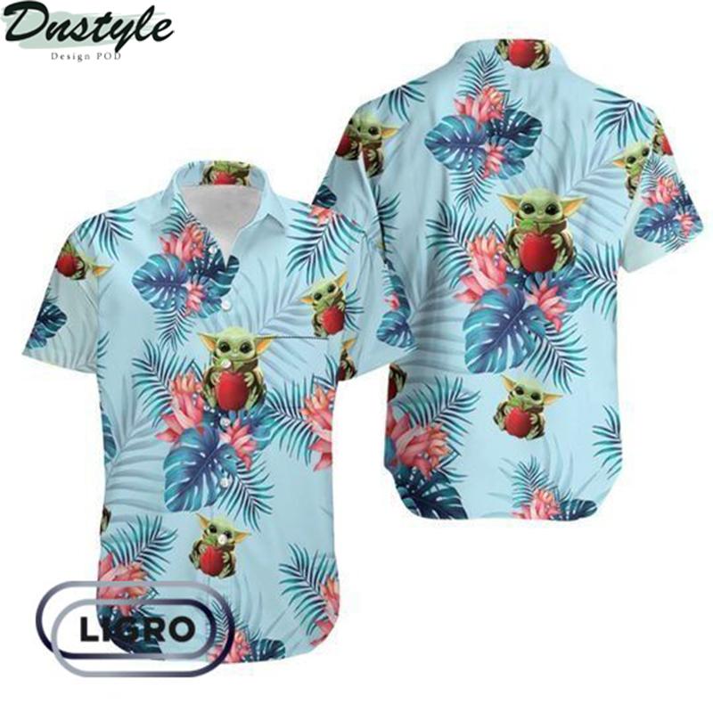 Baby yoda hugging apples hawaiian shirt