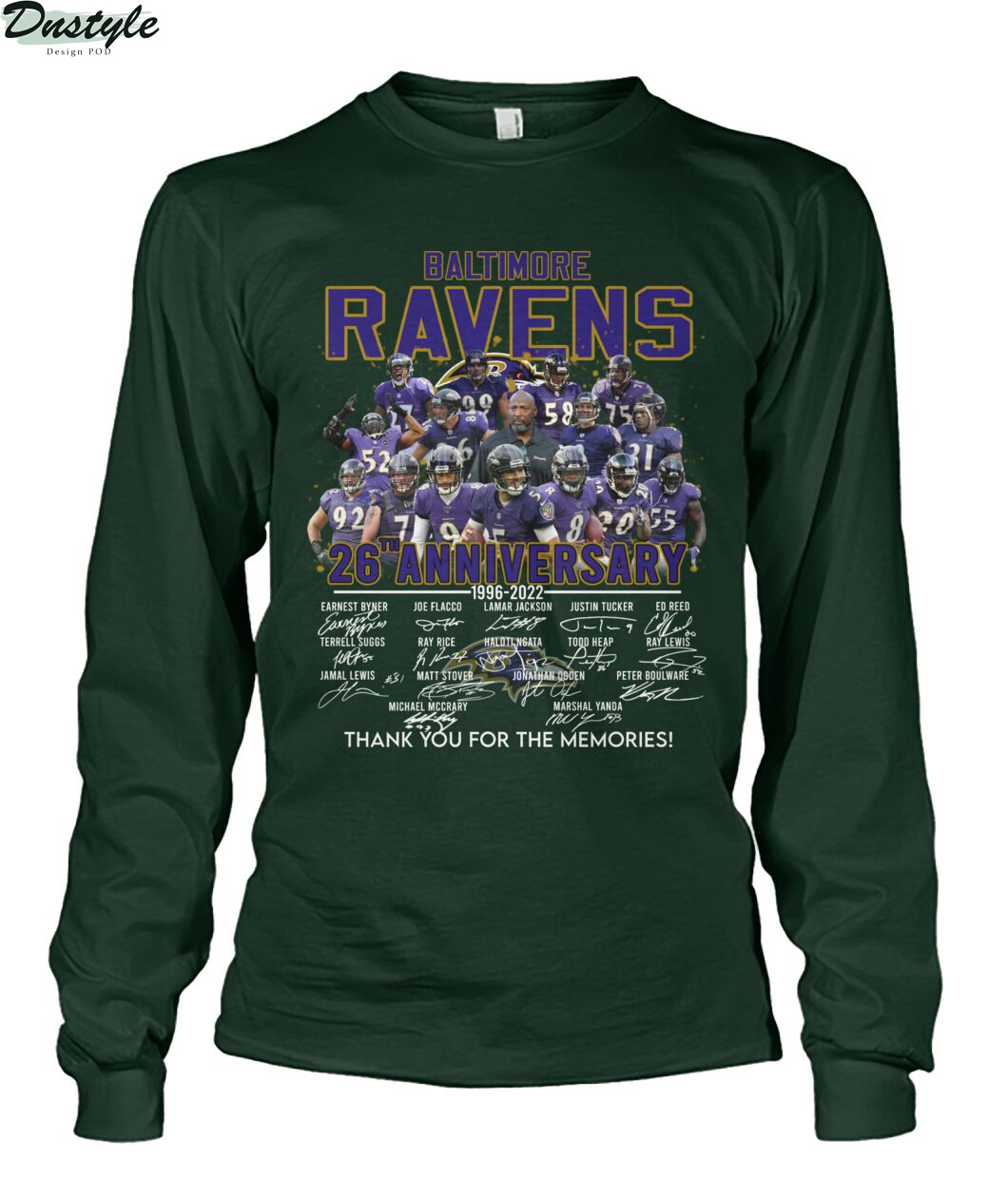 Baltimore ravens 26th anniversary thank you for the memories long sleeve