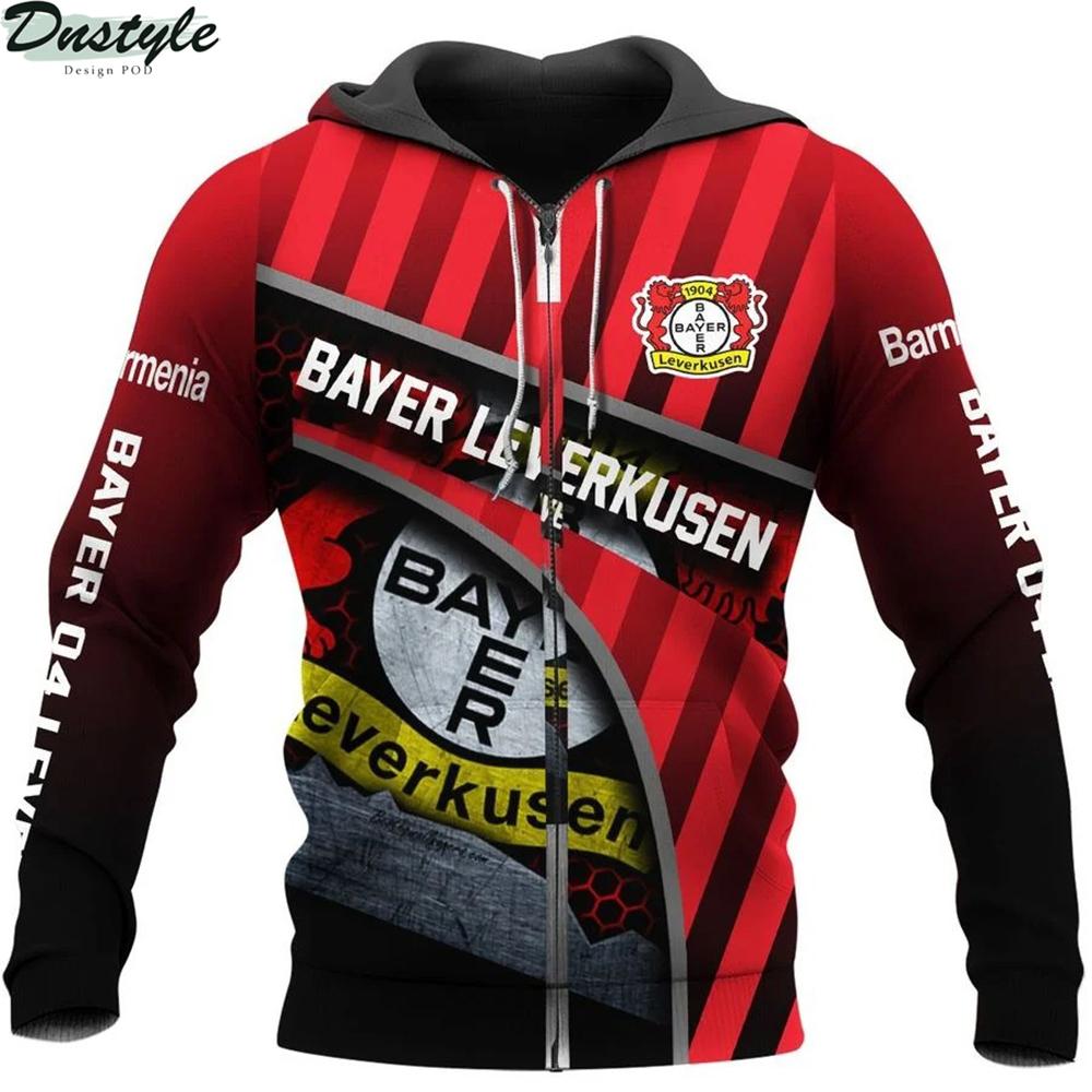 Bayer 04 leverkusen 3d all over printed zip hoodie 1