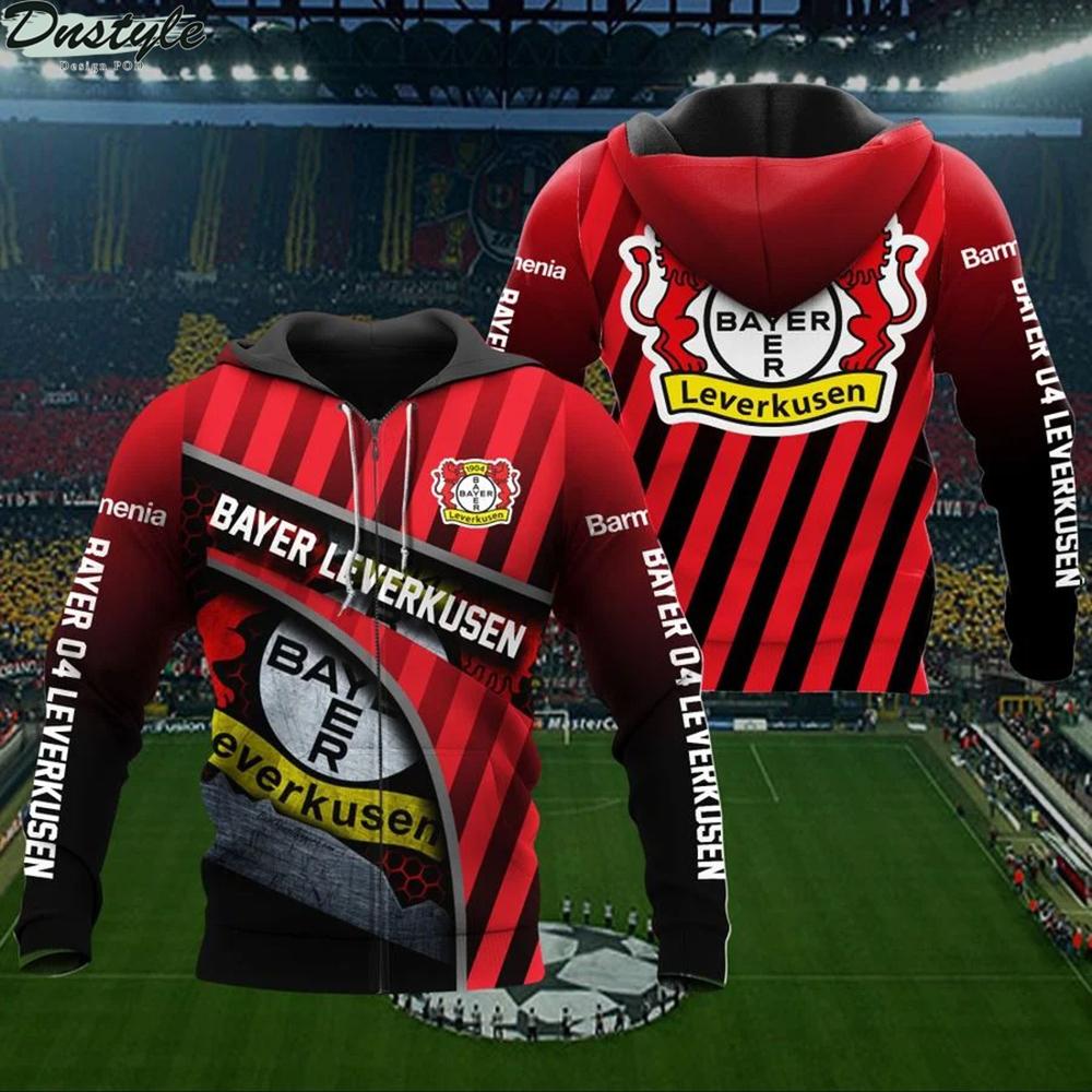 Bayer 04 leverkusen 3d all over printed zip hoodie