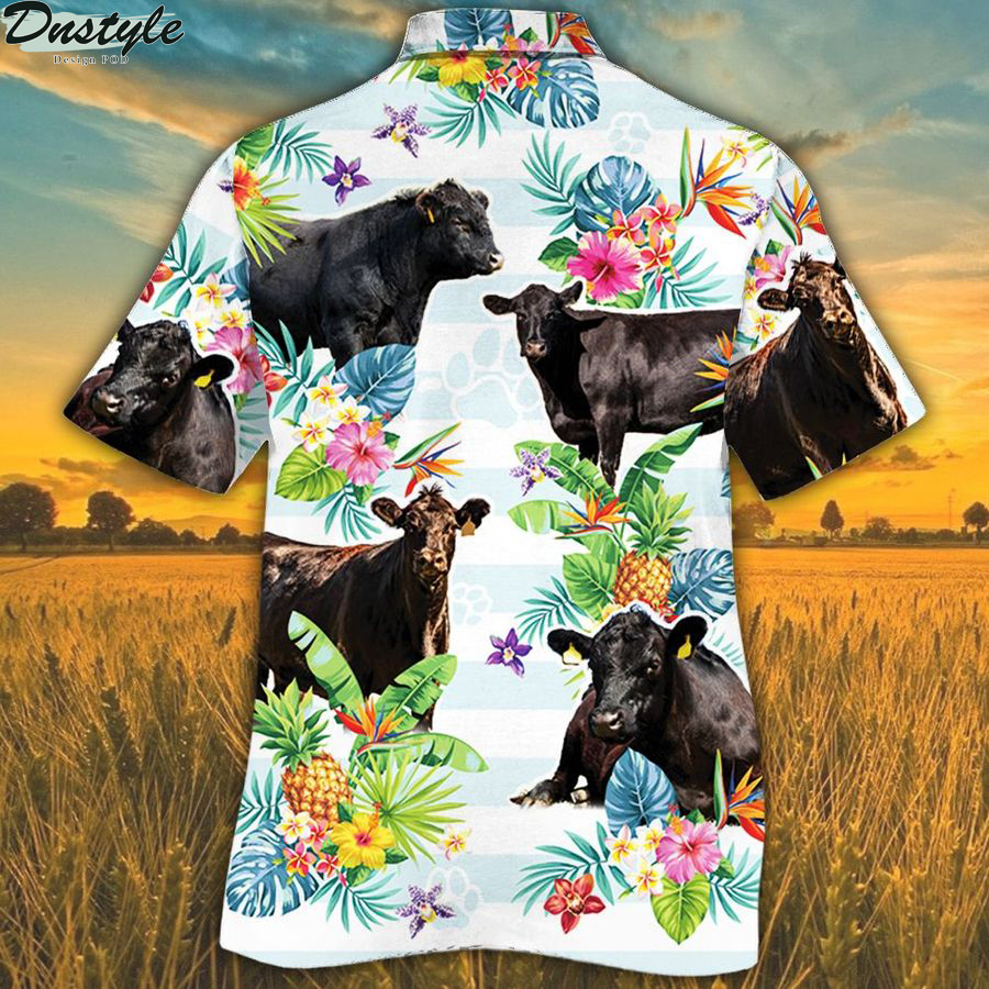 Black angus cattle lovers tropical flower hawaiian shirt 1