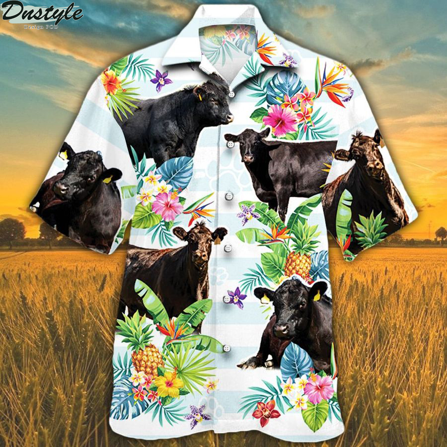 Black angus cattle lovers tropical flower hawaiian shirt