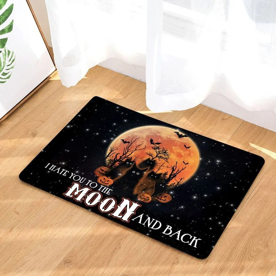Black cat I hate you to the moon and back doormat 1