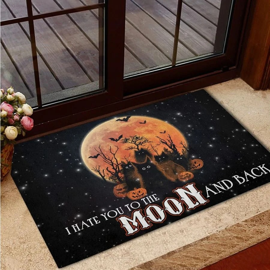 Black cat I hate you to the moon and back doormat