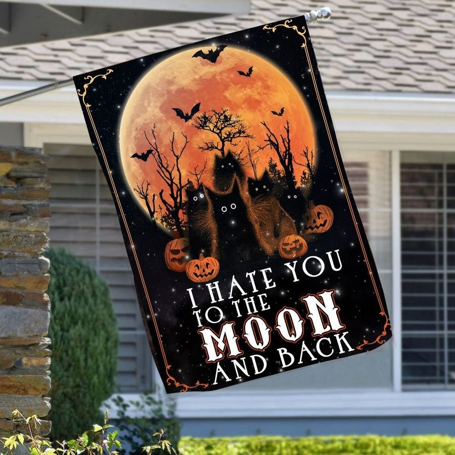 Black cat I hate you to the moon and back flag 1