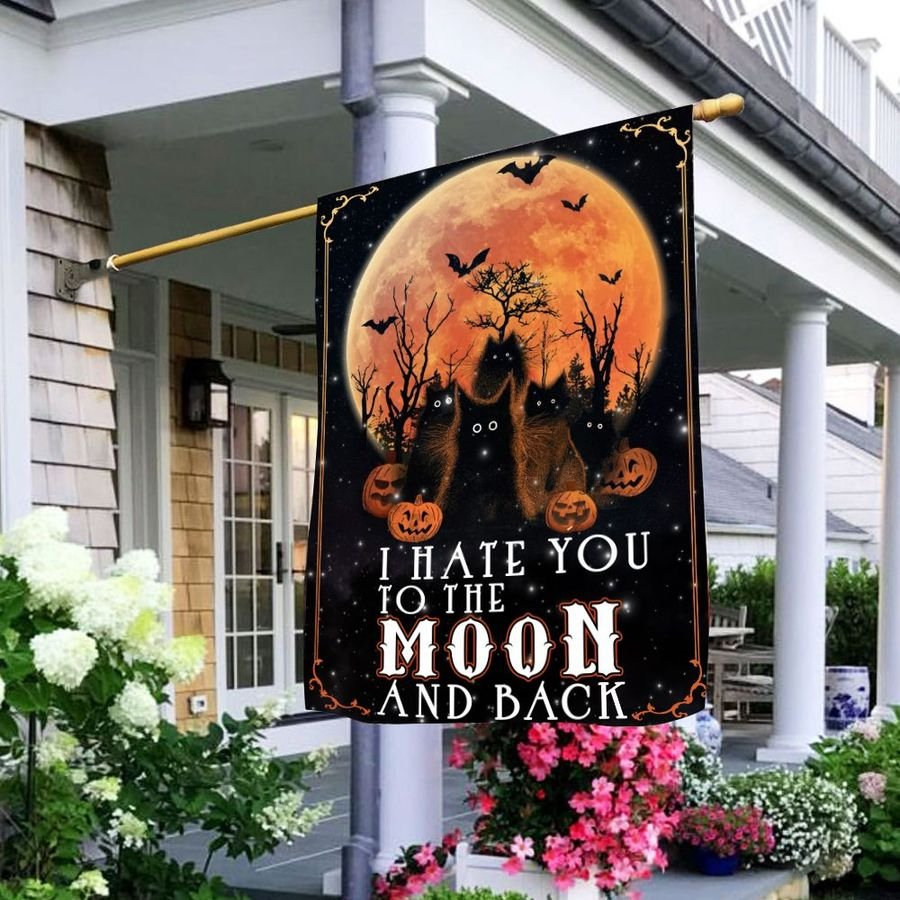 Black cat I hate you to the moon and back flag