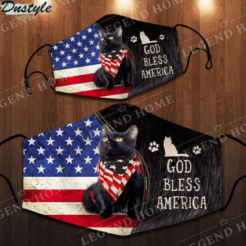 Black cat good bless america face mask