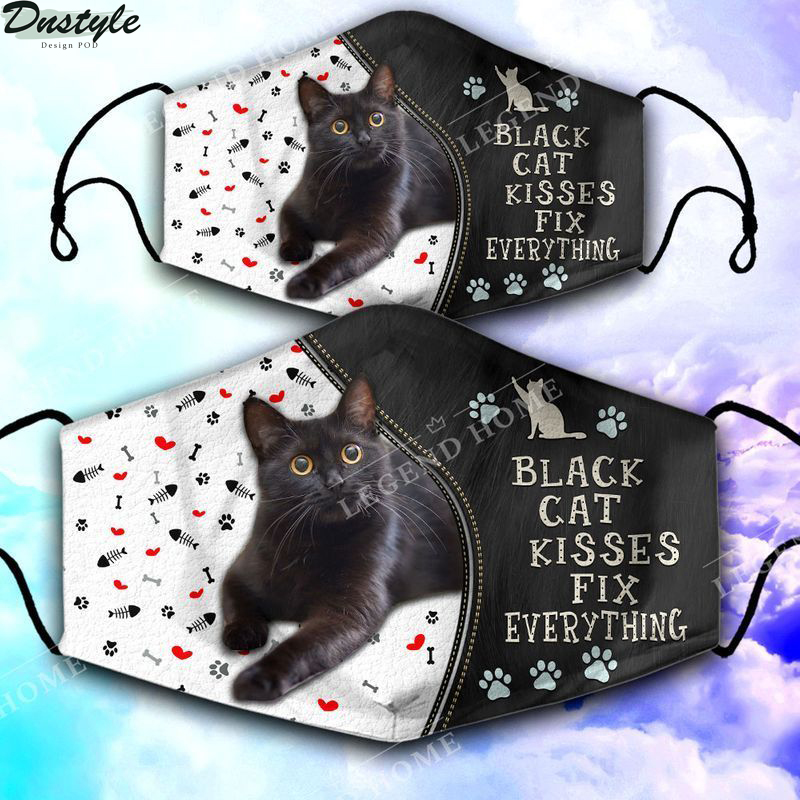 Black cat kisses fix everything face mask