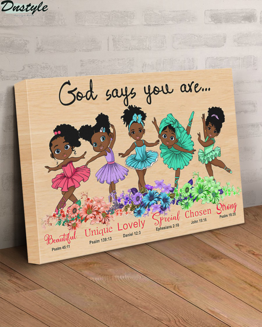 Black girl ballet god says you are canvas 2