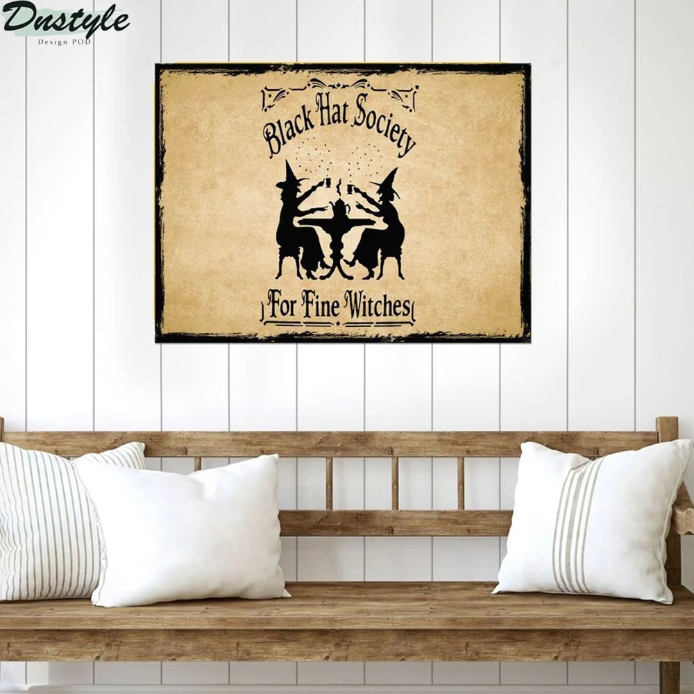 Black hat society for fine witches metal sign 2