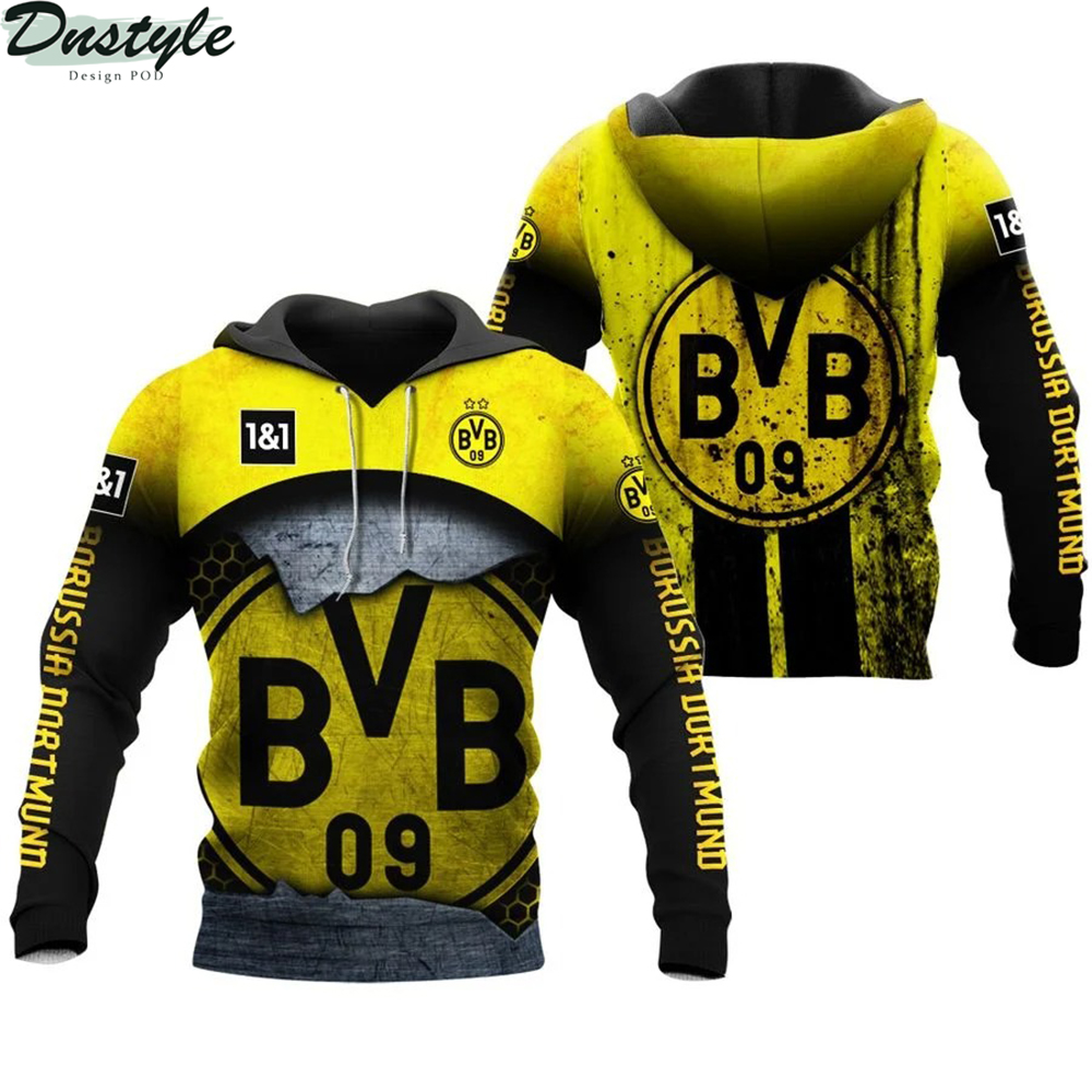 Borussia dortmund 3d all over printed hoodie