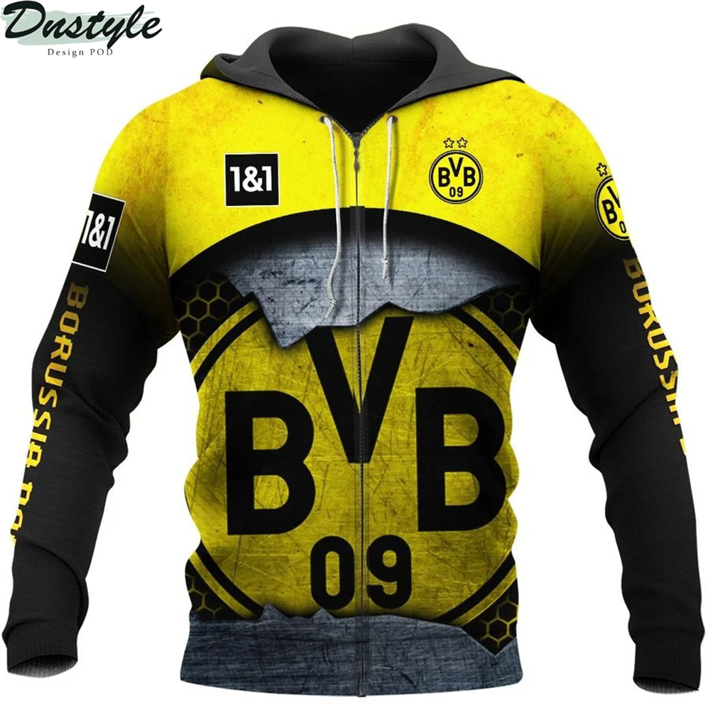 Borussia dortmund 3d all over printed zip hoodie