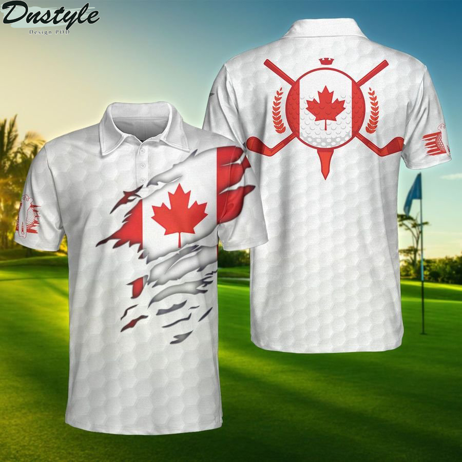 Canada flag golfer unisex polo shirt