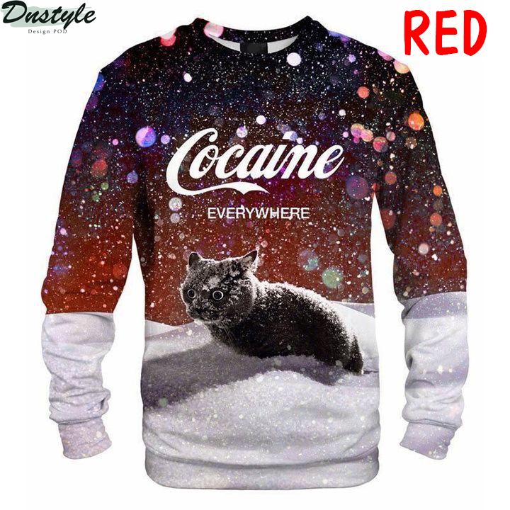 Cat snow cocaine everywhere sweatshirt red