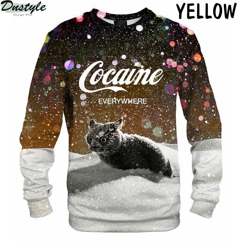 Cat snow cocaine everywhere sweatshirt yellow