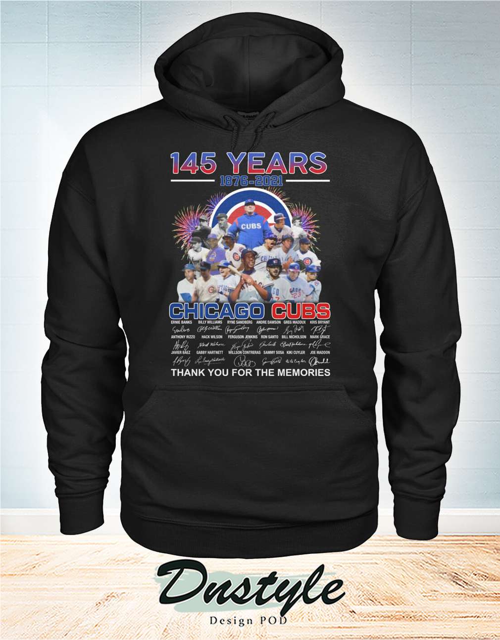 Chicago cubs 145 years signature thank you for the memories hoodie