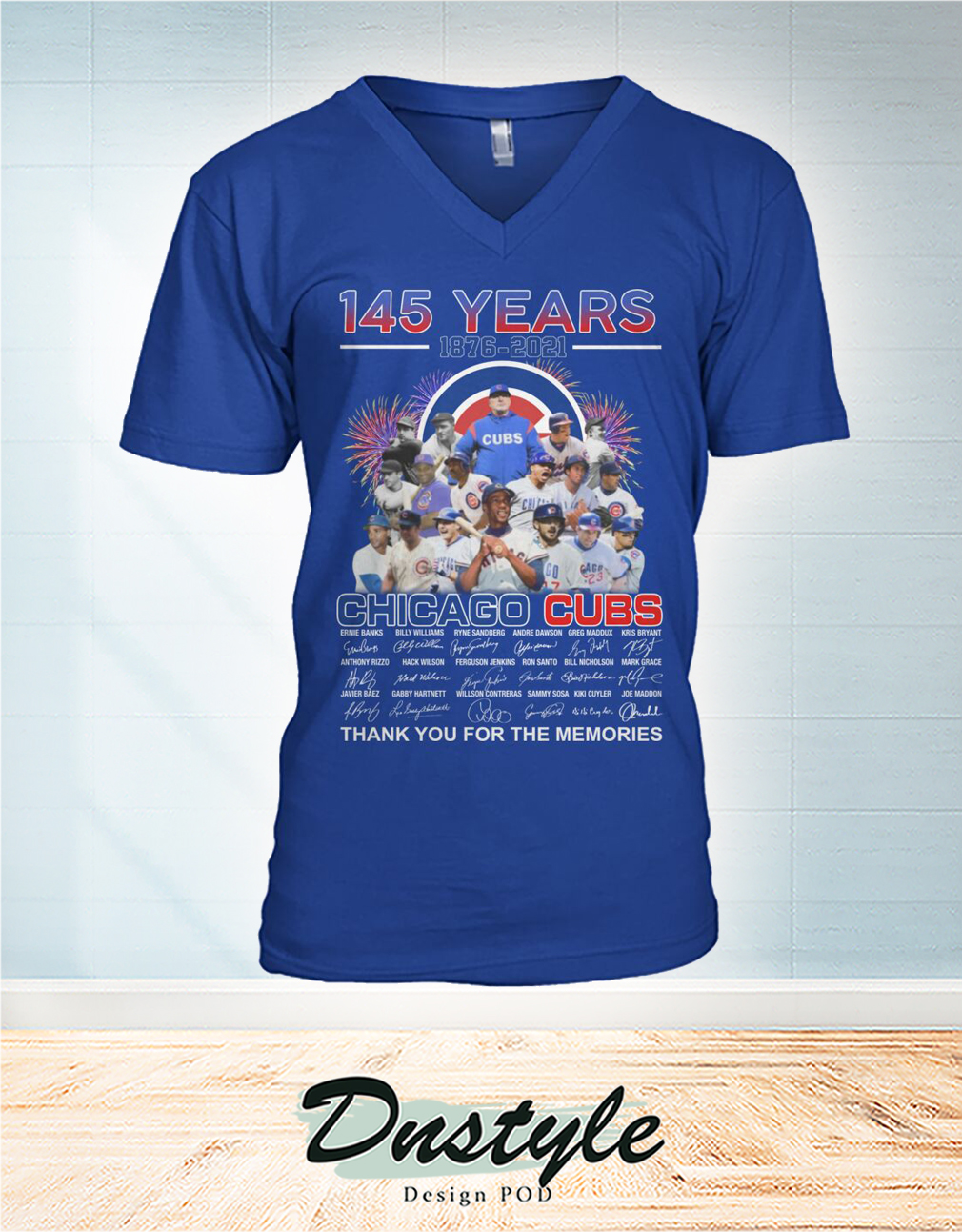 Chicago cubs 145 years signature thank you for the memories v-neck