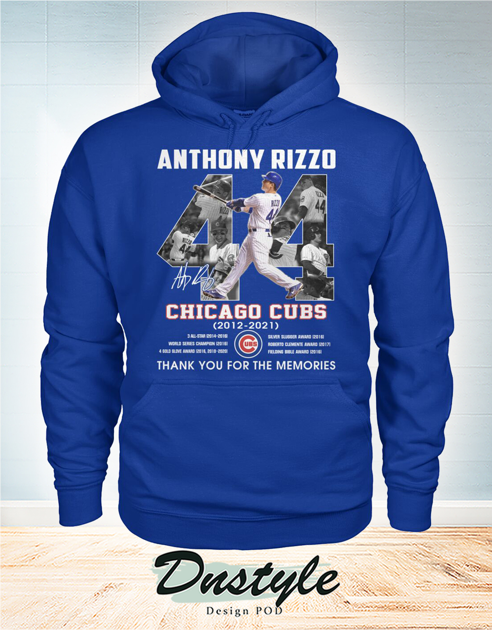 Chicago cubs Anthony Rizzo 44 signature thank you for the memories hoodie