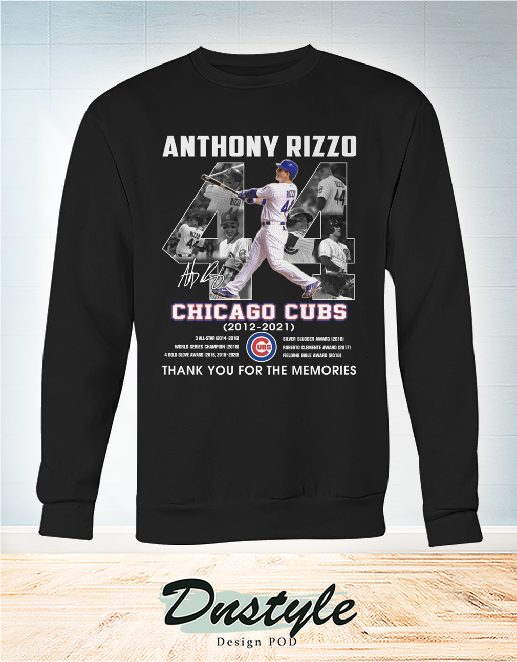 Chicago cubs Anthony Rizzo 44 signature thank you for the memories sweatshirt