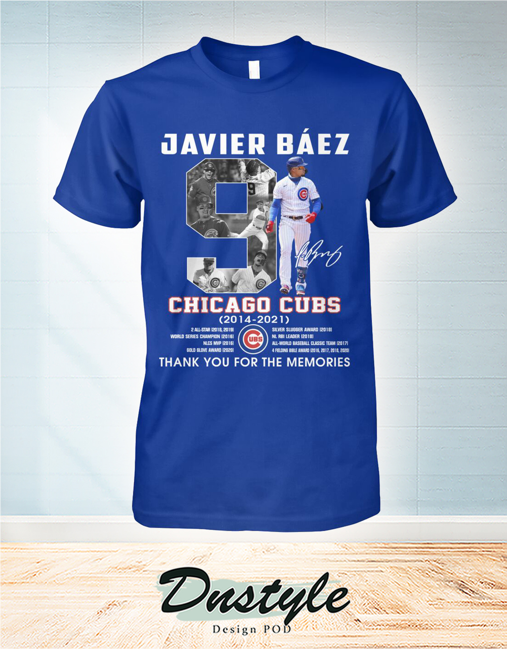 Chicago cubs Javier Báez 9 signature thank you for the memories shirt
