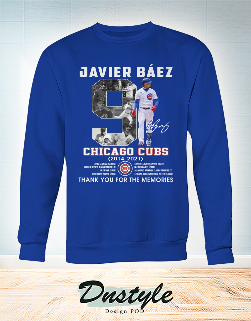 Chicago cubs Javier Báez 9 signature thank you for the memories sweatshirt