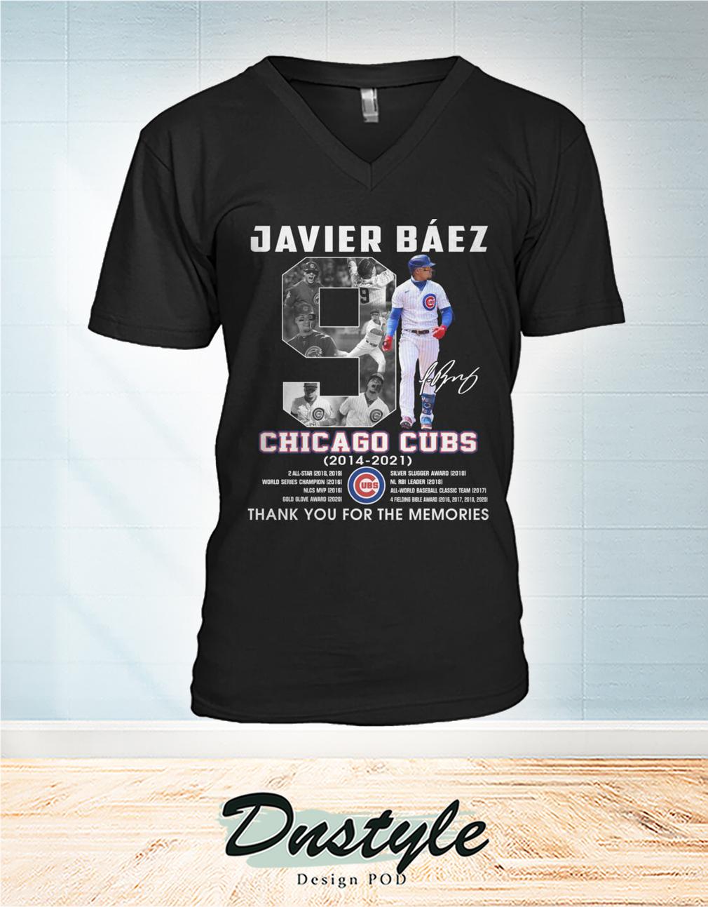 Chicago cubs Javier Báez 9 signature thank you for the memories v-neck