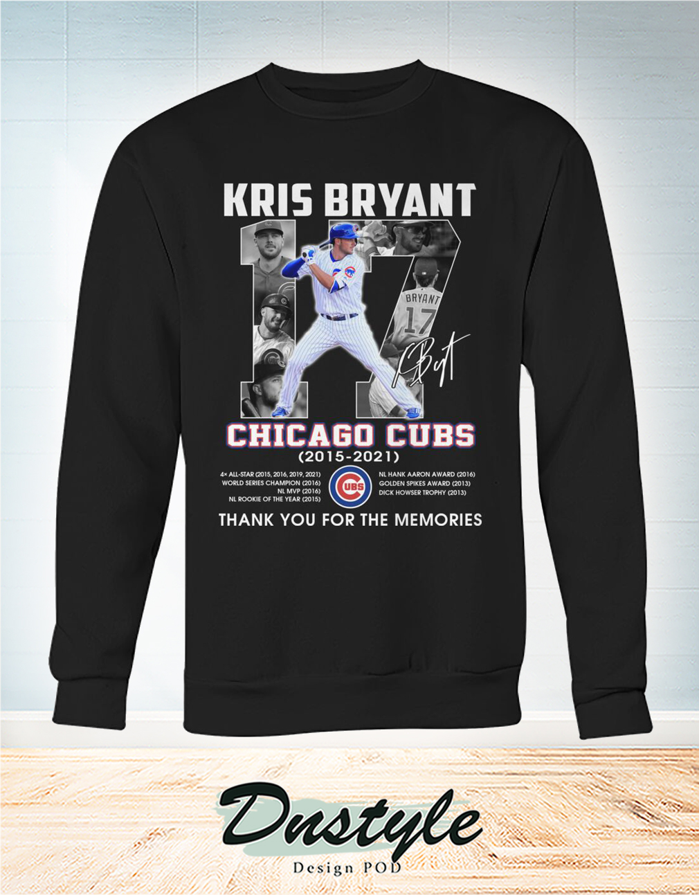 Chicago cubs Kris Bryant 17 signature thank you for the memories sweatshirt