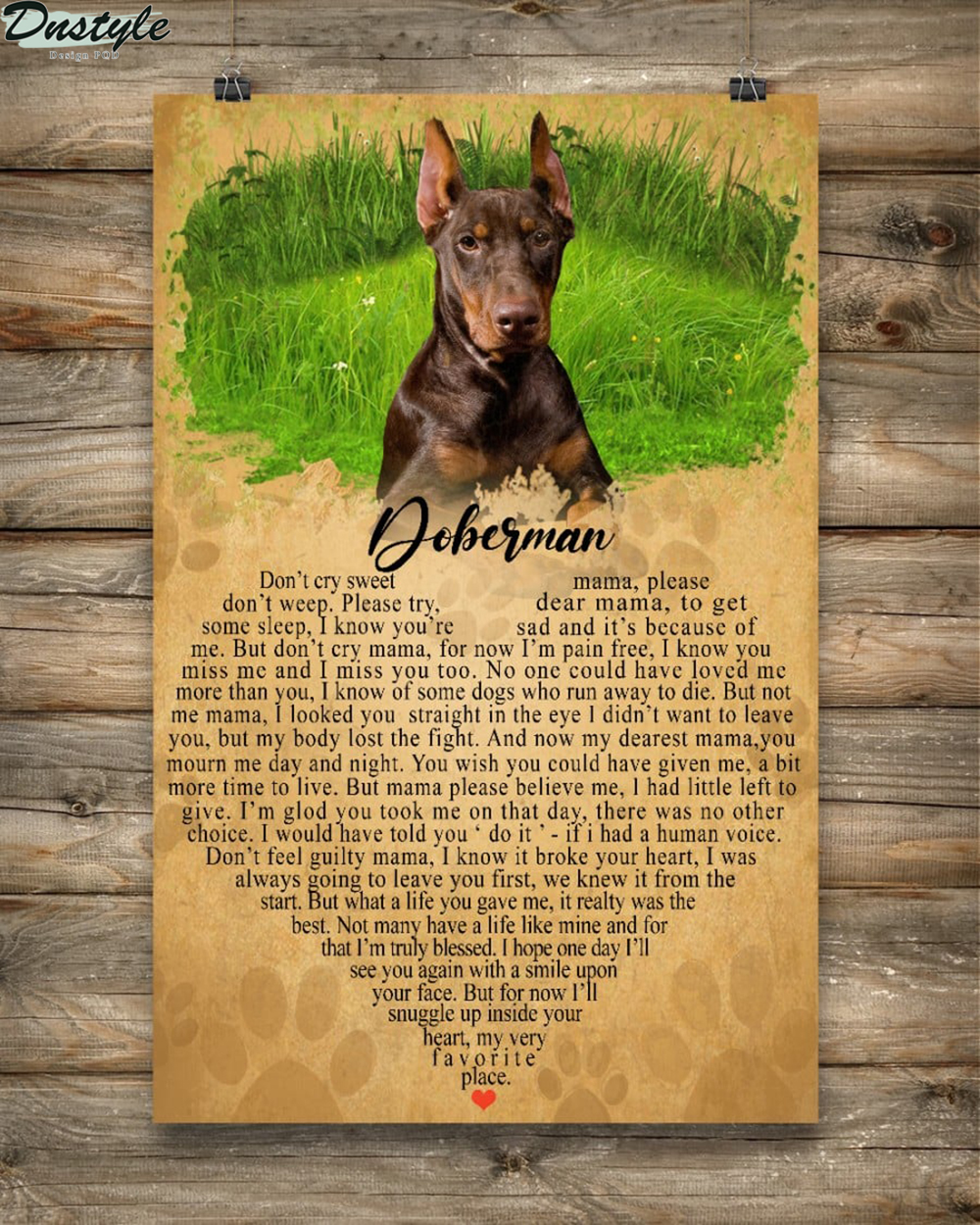 Doberman don't cry sweet don't weep please try some sleep poster