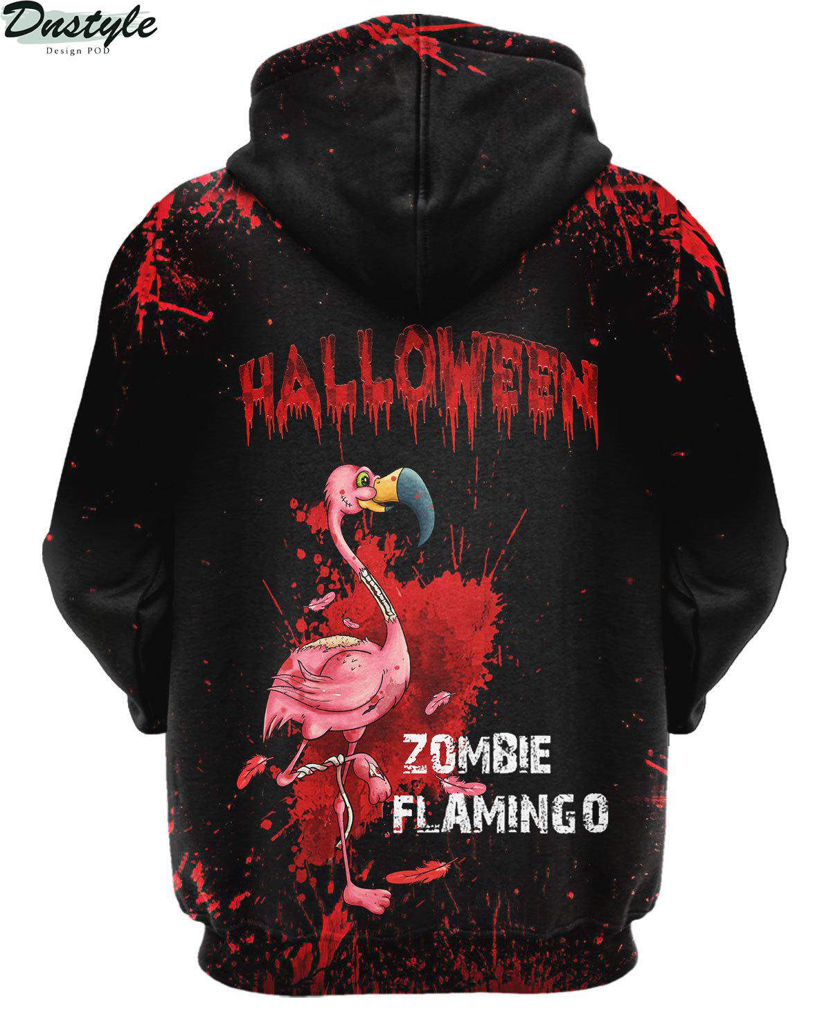 Flamingo Zombie Black Halloween 3d hoodie 1