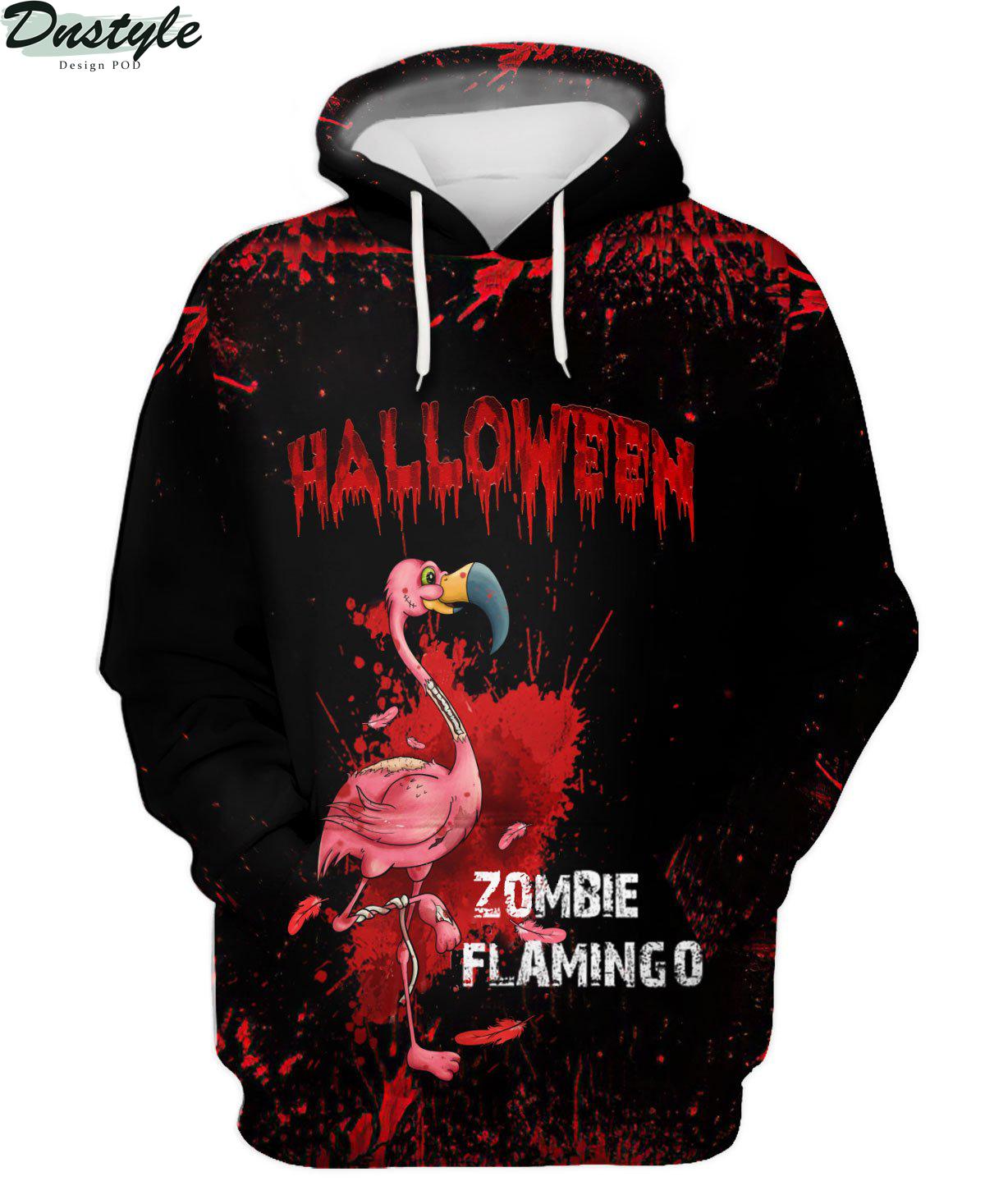 Flamingo Zombie Black Halloween 3d hoodie
