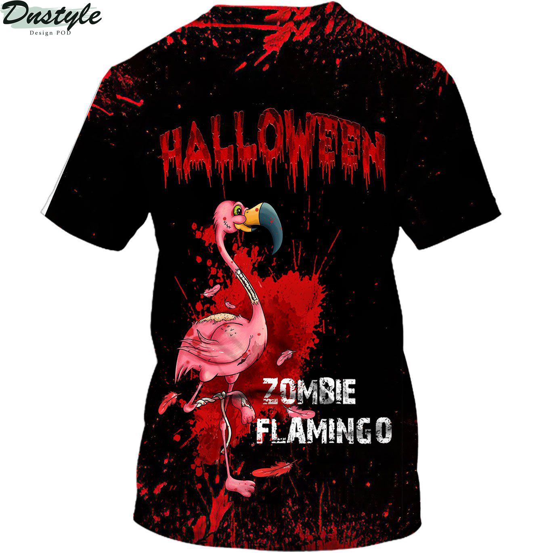 Flamingo Zombie Black Halloween 3d shirt 1