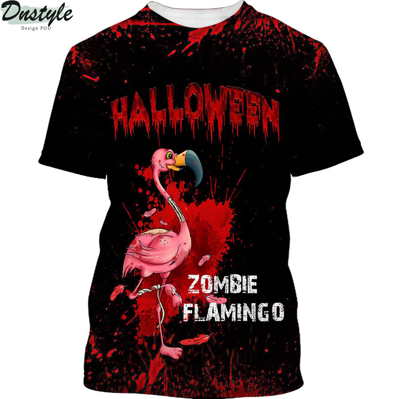 Flamingo Zombie Black Halloween 3d shirt
